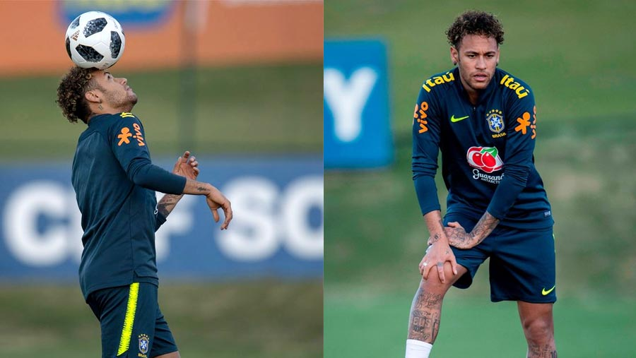 Neymar back in training with Brazil