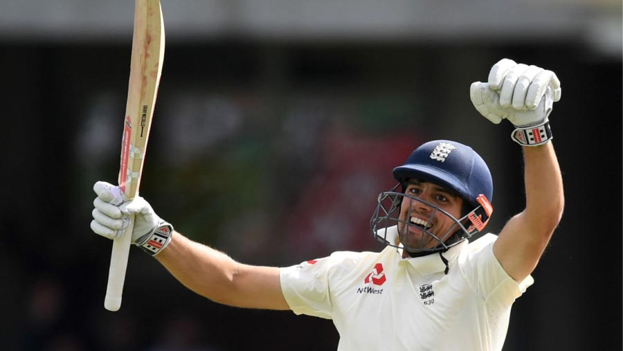 Cook reaches century in his final Test