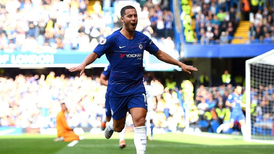 Hazard hat-trick helps Chelsea go top