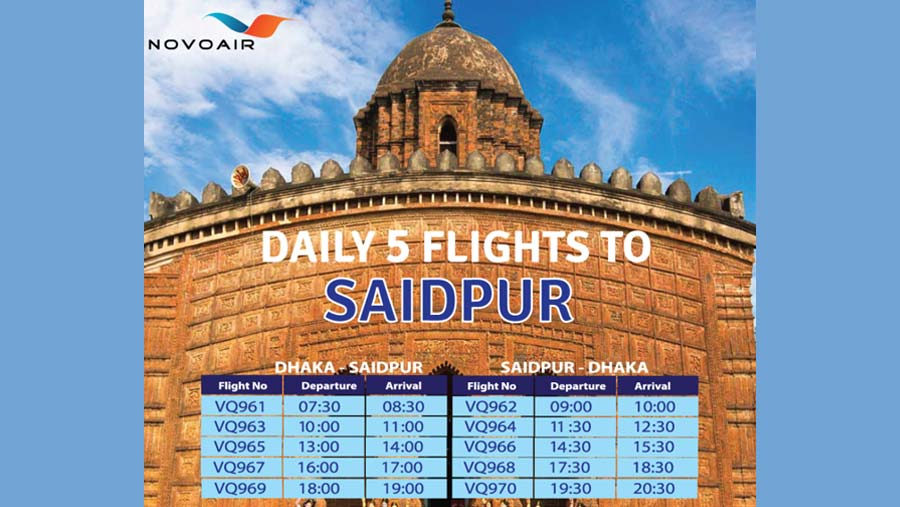 NOVOAIR increases flights to Dhaka-Saidpur route