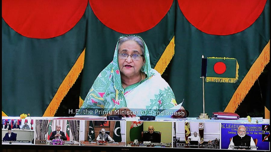Sheikh Hasina calls for amassing SAARC resources against Corona