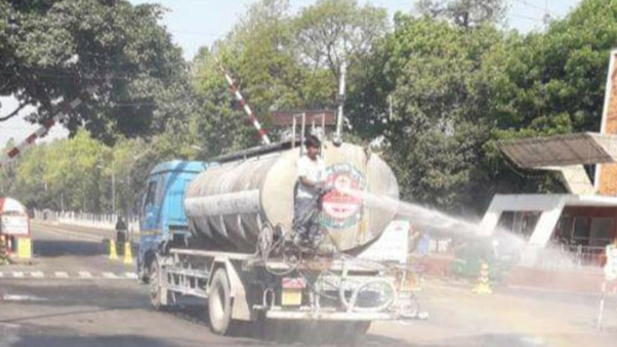 1,30,000 litres disinfectant water sprayed in DNCC areas