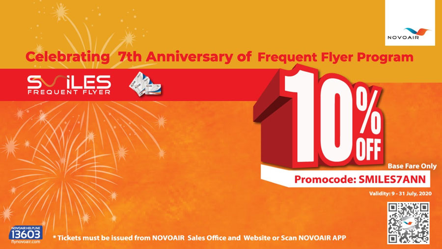 NOVOAIR announced 10% discount on the ticket fare