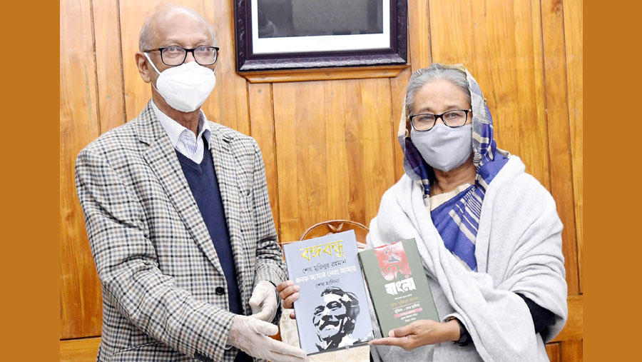 PM unveils cover of two books on Bangabandhu