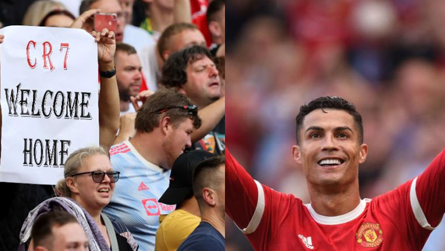 CR7 scores 2 goals in first game back with Man U